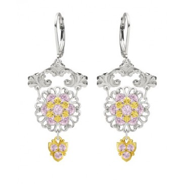 European Inspired Handmade in USA Chandelier Flower Earrings Made of .925 Sterling Silver with 24K Yellow Gold .925 Sterling Silver by Lucia Costin with Cute Details, Fancy Charms and Lilac Swarovski Crystals