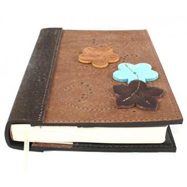 "Leather Flower Journal / Leather Flower Notebook / Leather Flower Diary with Raised Full Grain Saddlery Leather Flowers, 5"" X 7"" Size, Handcrafted in the USA Great Teen Journal to Write In"