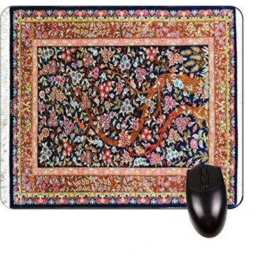 Tree of Life Persian Rug Print Design TM -Square Mouse pad - Stylish, Durable Office Accessory and Gift Made in the USA