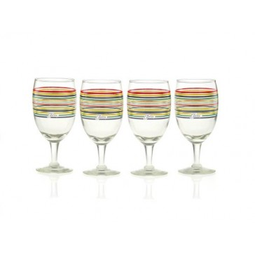 Fiesta Multi-Color Stripe Glassware, 16-Ounce All Purpose Goblet, Set of 4