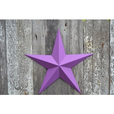 """53 Inch Heavy Duty Metal Barn Star Painted Solid Purple Orchid. The Solid Paint Coverage Gives the Star a Clean and Crisp Appearance. This Tin Barn Star Measures Approximately 53"""" From Point to Point (Left to Right). The Barnstar Is Hand Crafted Out of 22"""