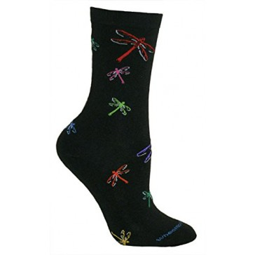 Colorful Dragonflies Black Ultra Lightweight Cotton Crew Socks (One Size Fits Most) Made in USA