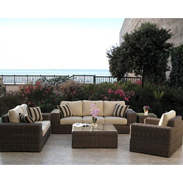 Outdoor Patio Resin Wicker Furniture Gerona Sofa 5PC Set Made in USA Sunbrella Cushions Fully Assembled