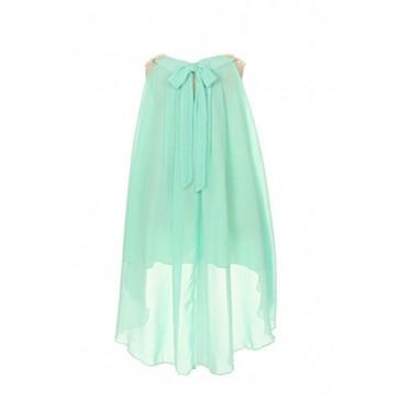 Chiffon Clooney Lace Hi-low Wedding Flower Girl Dress, Made in USA (6, Aqua)