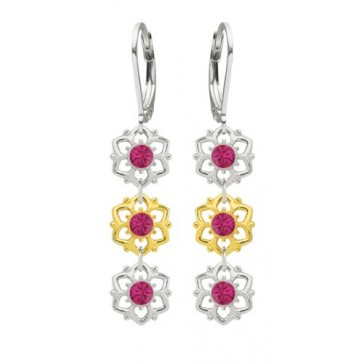 Lever Back Flower Earrings Made of .925 Sterling Silver with 24K Yellow Gold over .925 Sterling Silver by Lucia Costin with Fuchsia Swarovski Crystals and Cute Dots; Handmade in USA