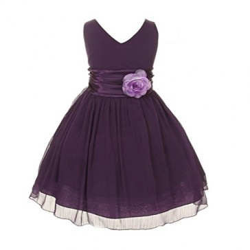 Chiffon Double V Neck Wedding Flower Girl Dress, Made in USA (8, purple)
