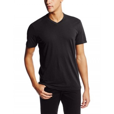 VELVET BY GRAHAM & SPENCER Men's Samsen Short Sleeve V Neck T Shirt, black, Small