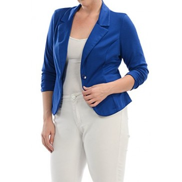 YourStyle Casual Work Solid Candy Color Blazer-S-3XL-MADE IN USA (2X-Large, Royal Blue)