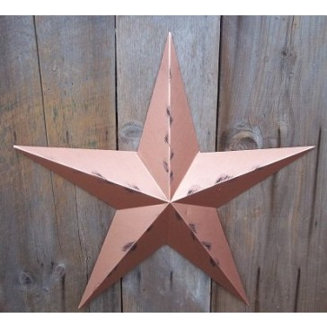 53 Inch Heavy Duty Metal Barn Star Painted Rustic Metallic Copper. The Rustic Paint Coverage Starts with a Black or Contrasting Base Coat and Then the Star Color Is Hand Painted on Top of the Base Coat with a Feathering Look Which Gives the Star a Distres