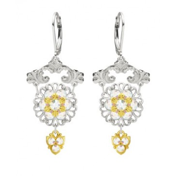 European Style Lucia Costin Chandelier Earrings Made of .925 Sterling Silver with Fancy Pattern, 24K Yellow Gold over .925 Sterling Silver 6 Petal Flower and White Swarovski Crystals; Handmade in USA