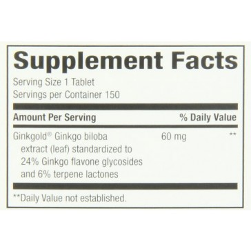 Nature's Way Ginkgold, 60 mg, 150 Tablets