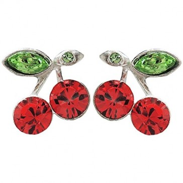 How Sweet! Cherry Stud Earrings with Swarovski Stones, Made in USA!, in Silver Tone with Red Finish