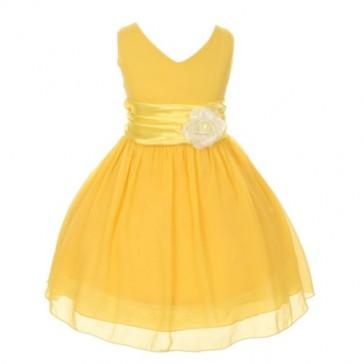 Chiffon Double V Neck Wedding Flower Girl Dress, Made in USA (10, yellow)
