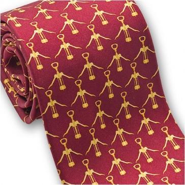 Josh Bach Wine Corkscrew Men's Silk Necktie in Red, Made in USA