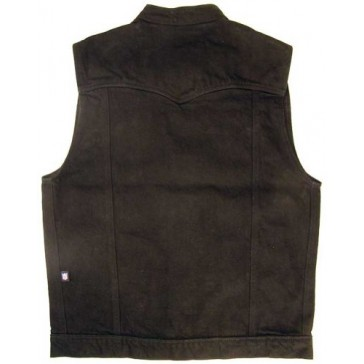 Legendary USA Men's Revolution Black Denim Motorcycle Vest - Made in USA-Black-M