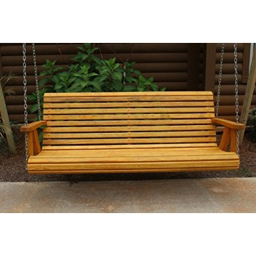 ROLL BACK Amish Heavy Duty 800 Lb 5ft. Porch Swing - Cedar Stain - Made in USA