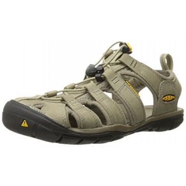 KEEN Women's Clearwater CNX Leather Sandal, Aluminum/Brindle, 5 M US