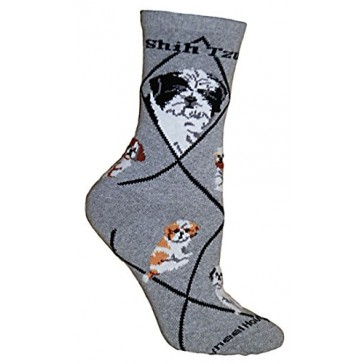 Shih Tzu Puppy Cut Gray Ultra Lightweight Cotton Crew Socks - Made in USA