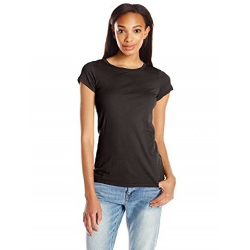 VELVET BY GRAHAM & SPENCER Women's Gauzy Crewneck Tee, Black, X-Small