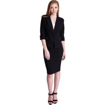 Ladies Black One Button Cuffed Blazer & Pencil Skirt With Belt Set