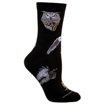 Owls Black Ultra Lightweight Cotton Crew Socks (One Size Fits Most) Made in USA