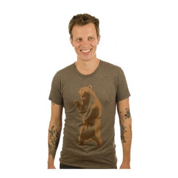 """Brown Bear"" Cotton/Poly T-shirt - Made in the USA (Small)"