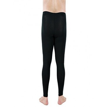 Underworks Cotton Spandex Ultra Light Compression Tights, Leggings, Base Layer 2X Black