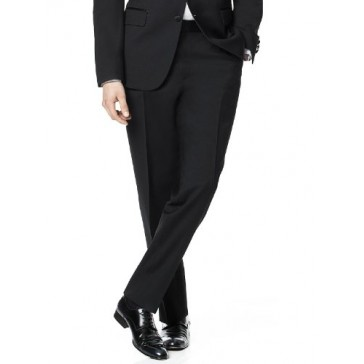 Flat Front Tuxedo Pant in Tollegno Wool by Dessy Group - Black - Size 33/adj
