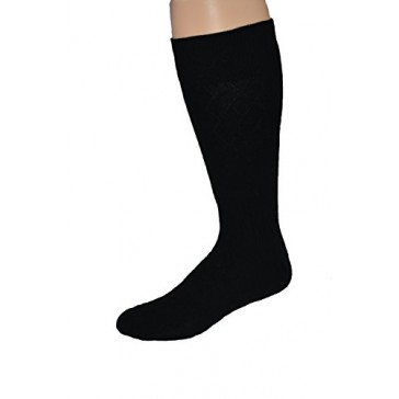 Men's Premium Combed Cotton Big and Tall Black Dress Sock-2pr Pack Made in USA