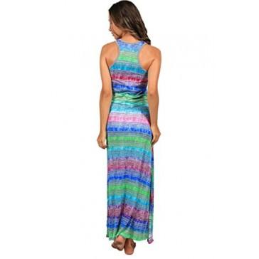 Ingear Long Tie Dye Racerback Maxi Dress (Small, GBL3)