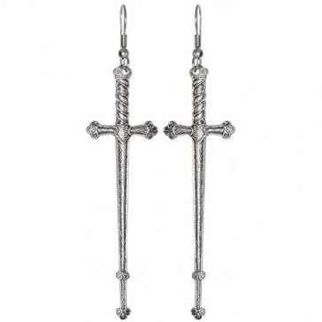 Weapon Earrings, 100% Nickel Free, Made in USA!, Medieval Sword in Burnished Silver