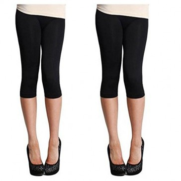 Nikibiki Women's Nylon 3/4 Smooth Crop Leggings (One Size, 2 Pack: Black and Black)