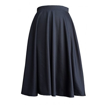 Womens Elastic Waist Below Knee Midi Flare Pleated Skirt Made in USA -Small,Black