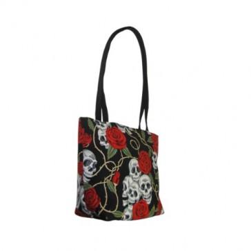Skulls & Roses Small Tote Bag Handbag - 100% Hand Made in USA