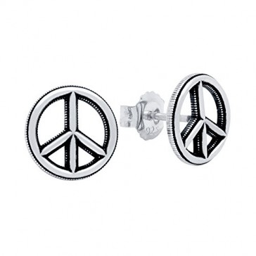 Sterling Silver Peace Sign Stud 11MM Earrings Made in USA