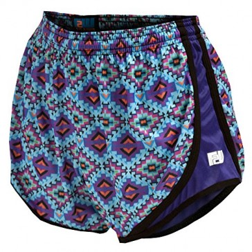Fit 2 Win Sprinter Aztec Aqua Coral Print Women's Running Shorts, XS