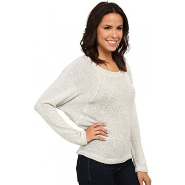 Splendid Women's Whistler Loose Knit Pullover Heather White Sweater LG (Women's 10-12)