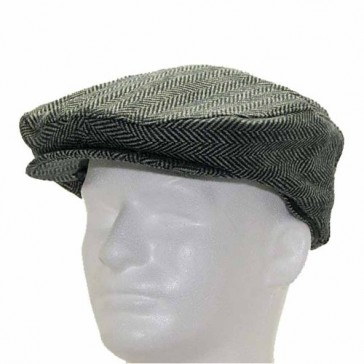 Classic ENGLISH DRIVER Herringbone Wool Ivy Cap Hat Scaly Made in USA GREY 7 3/4