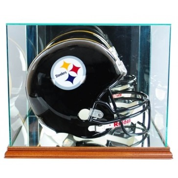 Full Size Football Helmet Display Case - Glass Top with Walnut Base - Made In America - With 50% UV