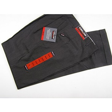 Kirkland Signature Men's Wool Pleated Dress Pant with Cuff 34 x 34 Charcoal
