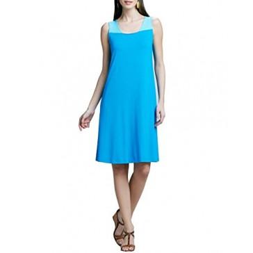 Eileen Fisher Viscose Jersey Square Neck Dress Peek A Boo Back Aqua S