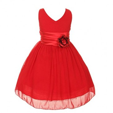 Chiffon Double V Neck Wedding Flower Girl Dress, Made in USA (8, red)