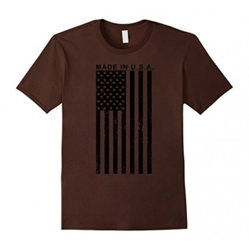 Made in USA American Flag Military Unisex T-shirt - Male 2XL - Brown