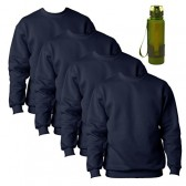 Bayside Mens Made In USA Fleece Sweatshirts 4 Pack With Water Bottle, Navy, 3XL