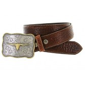 """Made in USA Mens Texas Longhorn Buckle Genuine American Bison Tan Oil-Tanned Thick Leather Casual Western Jean Belt(Tan, 32"""")"""