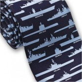 Josh Bach Men's Military Ships and Submarines Silk Necktie Blue, Made in USA