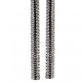 """Girlprops 12"""" Shoulder Duster Chain Earrings, Made in USA!, Silvertone and Black, 3 Row in Silver Tone with Black Finish"""
