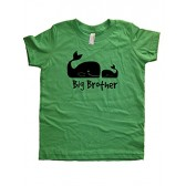Boys Whale Pair Big Brother Shirt 5-6 Green by Sunshine Mountain Tees