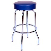 "Budget Bar Stools 0-1950BLU Swivel Bar Stool with Chrome Frame, 16.75"" L x 16.75"" W x 30"" H, Blue"