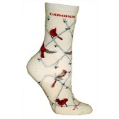 Cardinals Cream Ultra Lightweight Cotton Crew Socks (One Size Fits Most) Made in USA